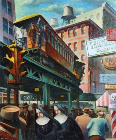 City Scene with Nuns