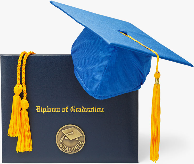 Diploma of Graduation with Blue Morter Board and Honor Cords Isolated on White Background.