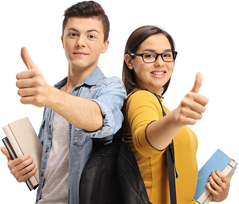 Smiling male and female college students giving thumbs up