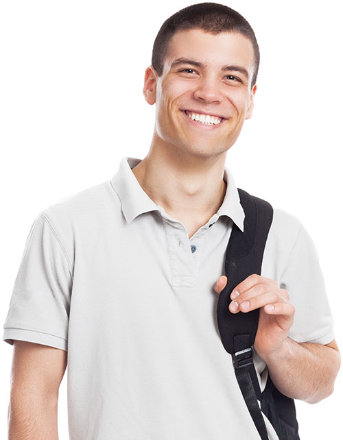 Male college student smiling holding a backpack