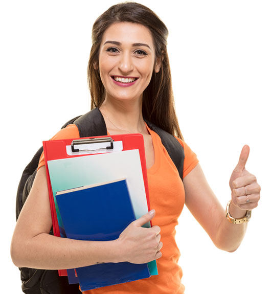 Smiling female student giving the thumbs up