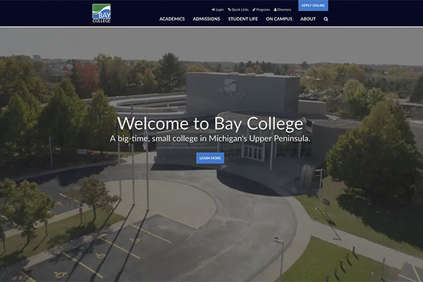 Screenshot of the new Bay College website homepage.