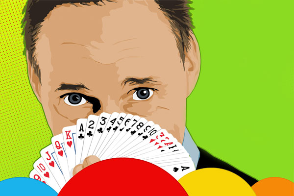 Illustration of John Cassidy holding a hand of playing cards