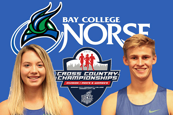 Bay College Norse Cross-Country runners Zoie Berg and James Young
