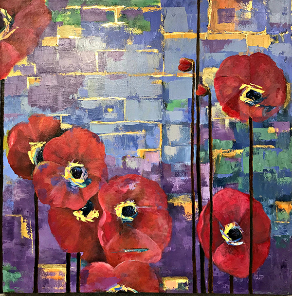 A picture of red poppies against a colorful purple, blue and yellow background is portrayed