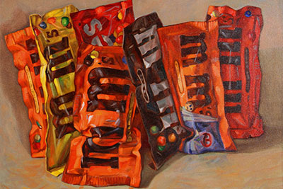 Painting of multiple bags of M&M's
