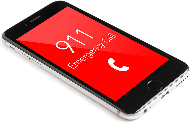 Mobile phone with a red 911 emergency call screen