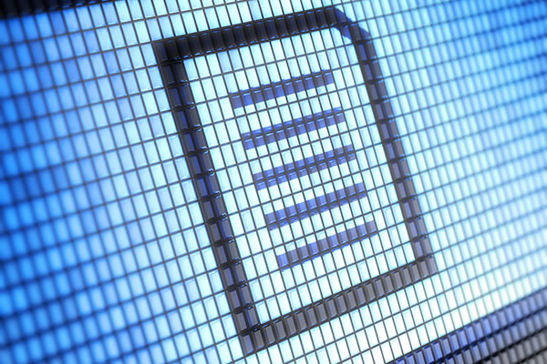 Close up of the document icon on a computer screen