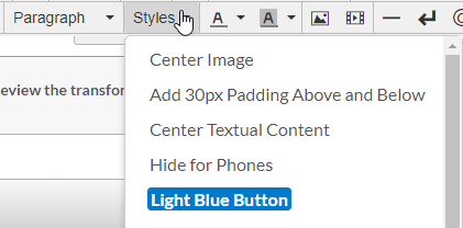 Styles Dropdown Toolbar