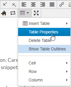 Table Properties toolbar screenshot.