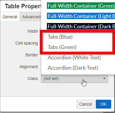 Table Properties UI